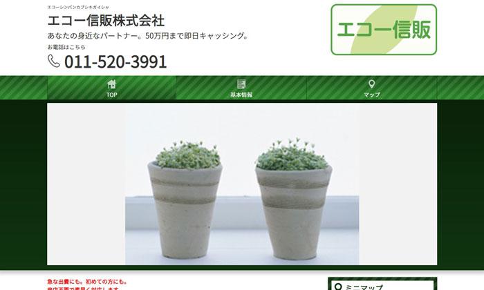 エコー信販株式会社のウェブサイト画像