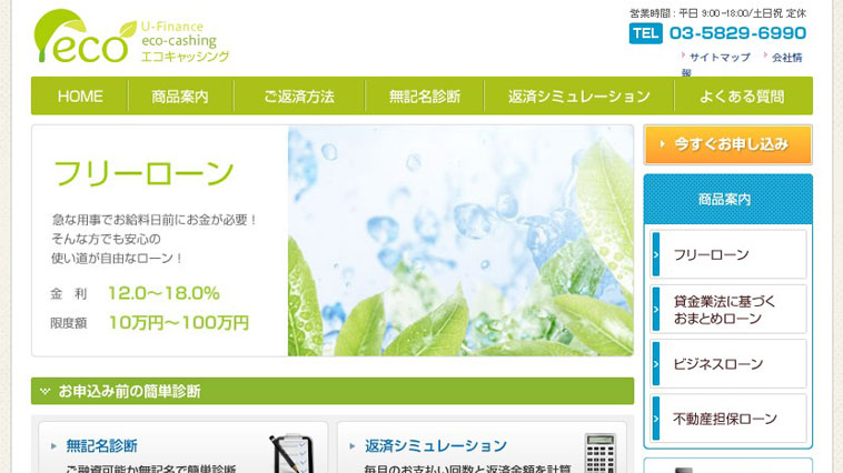 エコキャッシングのウェブサイト画像