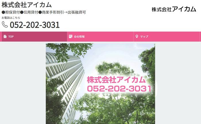 アイカムのウェブサイト画像