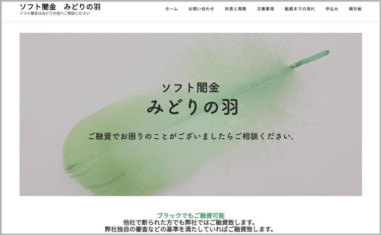 ソフト闇金みどりの羽ウェブサイト画像